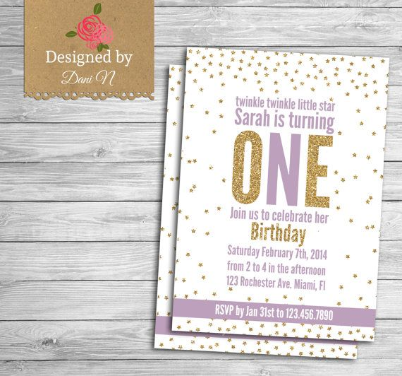 Twinkle twinkle birthday invitation, glitter birthday invite, printable party, twinkle twinkle little star party, girl lavender and gold
