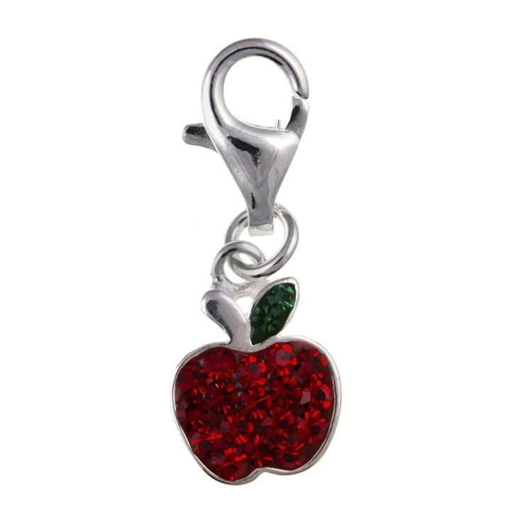 Red Crystal Apple Fruit Sterling Silver Clip-On Charm - For Thomas Sabo Style Charm Bracelets *** Check out the image by visiting the link. (This is an affiliate link) #Charms