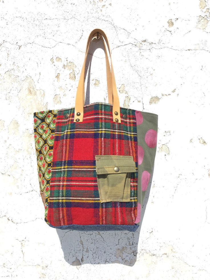 Vintage Stoff und Leder Tote Bag / Hand ragte Plaid Stoff Tote Bag / Upcycled Vintage Stoff & Canvas Einkaufstasche – IreneEC42