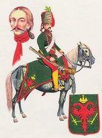 Zöld ruhás huszár piros nyakravalóval és zöld tarsoly (1-3)