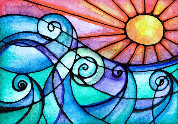 Surfs Up sunset sun art print painting beach by RobinMeadDesigns