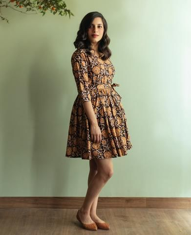 Black and Yellow Hand Block Printed Wrap Dress
