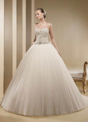 #Honorable A-line Sweetheart #Crystal&Pearl Sweep/Brush Train Tulle Wedding Dresses