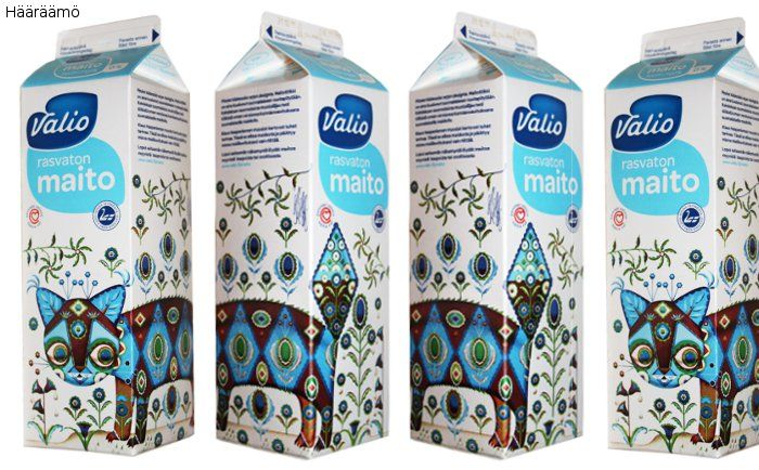 Klaus Haapaniemi's cat design on a Valio milk carton