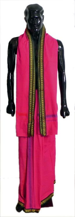 Crimson Red Lungi and Angavastra with Red and Green Border for Performing Puja