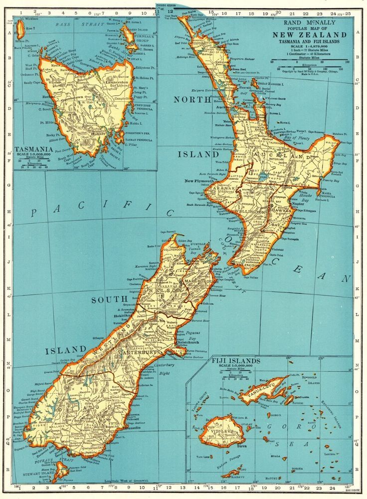 1943 Antique NEW ZEALAND Map Vintage Map of New Zealand Gallery Wall