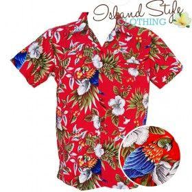 Red Magnum Hawaiian Shirt Plus Size Tropical Aloha Party costume