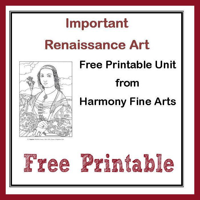 Harmony Fine Arts Renaissance Art printable unit {free} mini book, coloring pages, art prints too