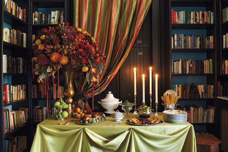 A dramatic floral arrangement sets the tone of this buffet.