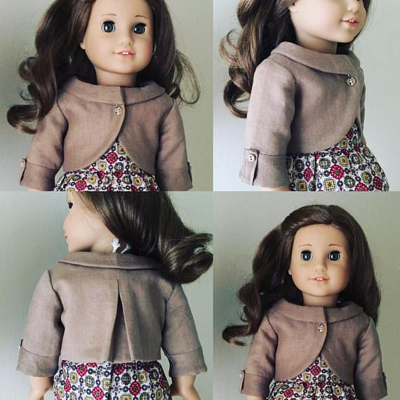 Fits American Girl doll: brown linen jacket