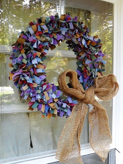 So cute!  Multi-Colored Denim Scrap Wreath