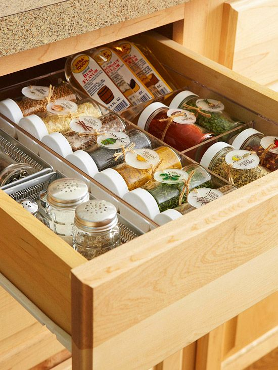 Don't end the color splashes at the walls. Store your spices in clear containers and you will have pops of color in your drawer or cabinet. The cute labels make cooking even more fun.