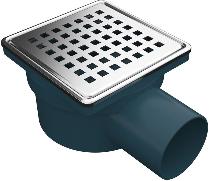 Duschablauf, Badablauf, Bodenablauf mit Edelstahlrost- und Rahmen, 100 x 100 mm
