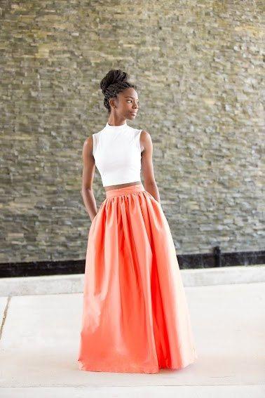 Mélange Mode Coral Maxi Skirt by MelangeMode on Etsy