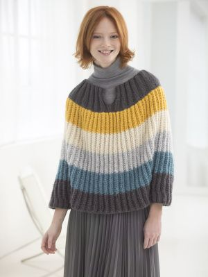 Image of Flattering Striped Poncho