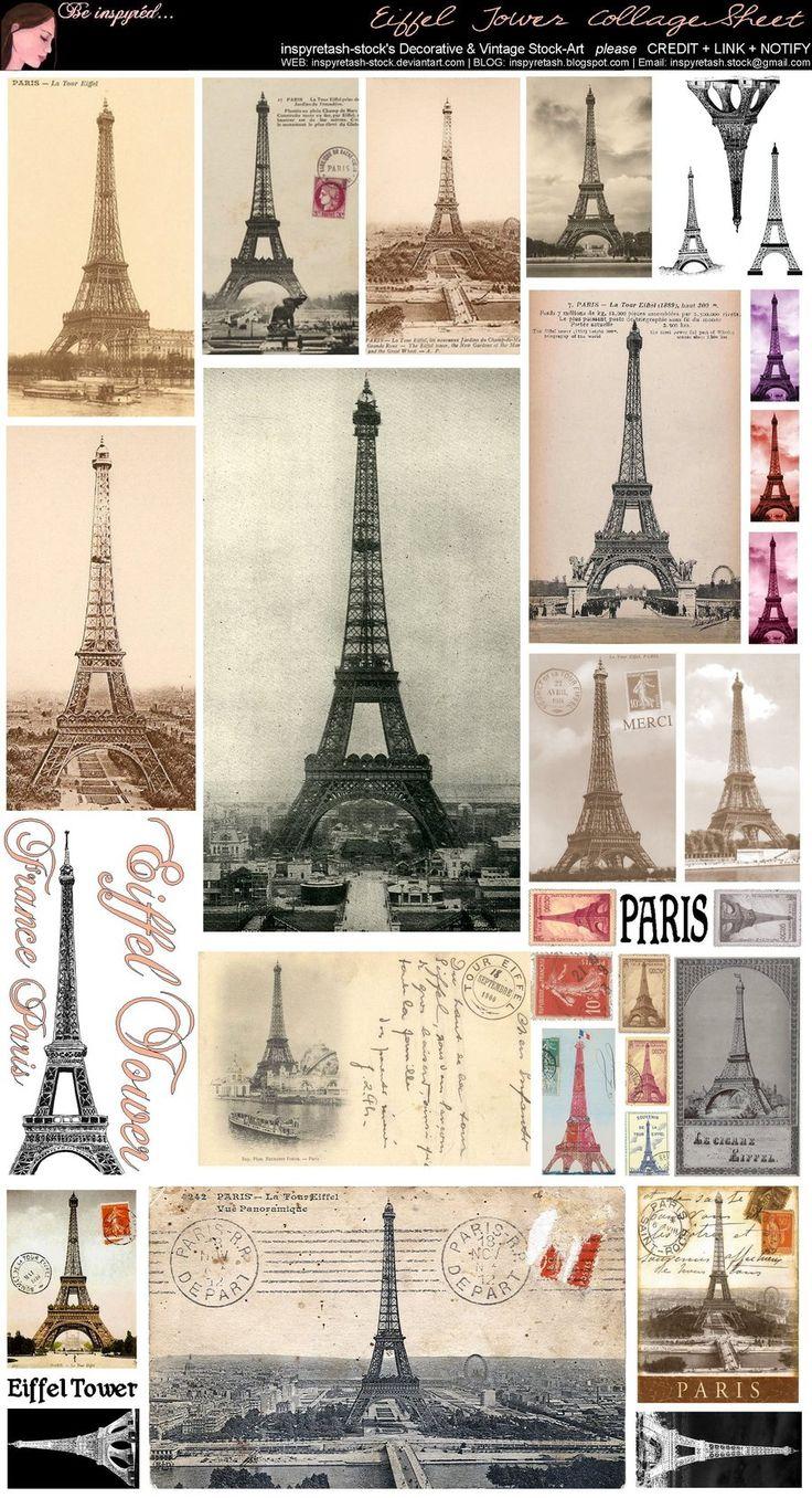 Papeterie Parie - Différentes illustrations vintage de la Tour Eiffel (Free printable)