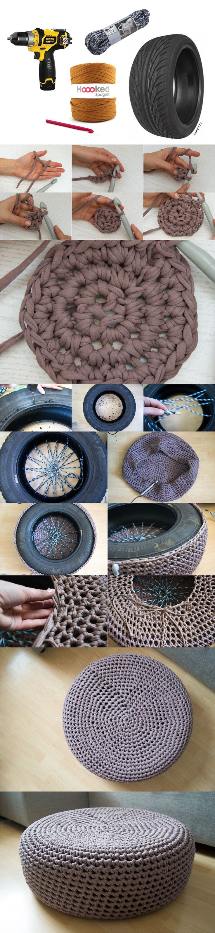 Buena idea para reciclar neumático - yellowgirl.at - DIY Crochet Tire Puff