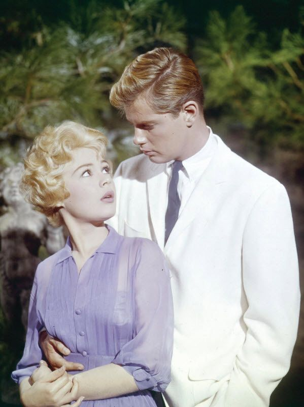 Sandra Dee and Troy Donahue - A Summer Place-I remember in the movie, he hitch-hiked in a suit!  Such were the times.
