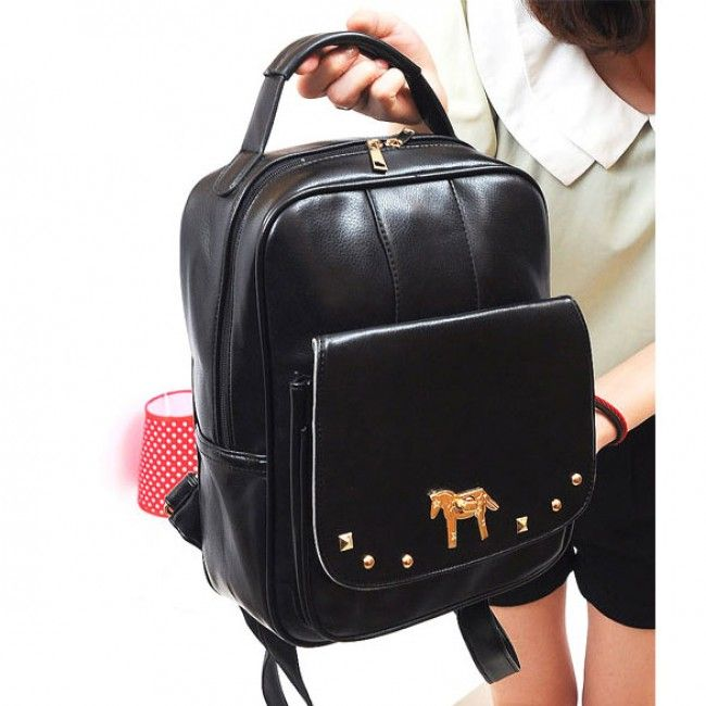 Fresh Pony Rivet College Backpack & Handbag for only $24.90 ,cheap Fashion Backpacks - Fashion Bags online shopping,Fresh Pony Rivet College Backpack can be used as school bag or travelling bag. It is so perfect for you.