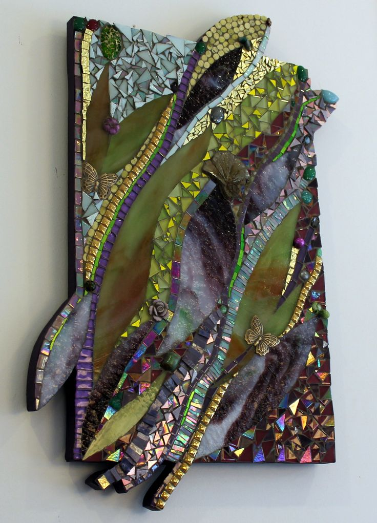 Landing Place: hand cut glass, found objects, semi-precious stones, 24K gold Smalti, yellow turquoise, and dyed emerald green Variscite. Originally design wood work. All glass was hand cut by the artist, Ariel Finelt Shoemaker. Inquires welcome: http://www.mosaicsbyariel.