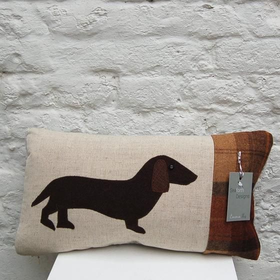 Dachsund Cushion by Emma Isles, Seaforth Designs in Pembrokeshire. Available to buy online