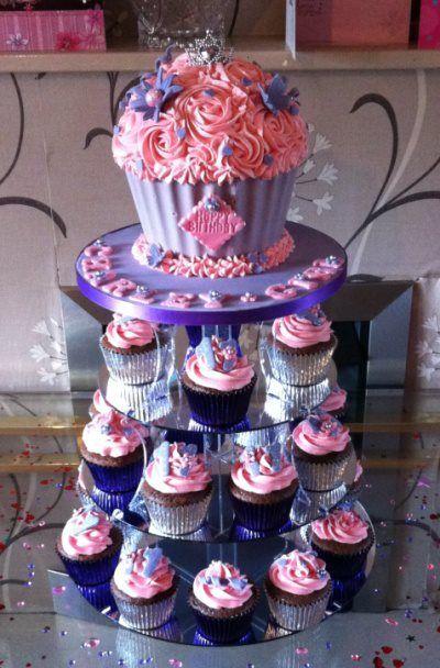 Sofia cupcake tower and giant cupcake cake