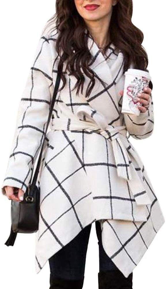 WAYA-Women Trendy Plaid One Button Wool Blend Turn Down Collar Trench Coats