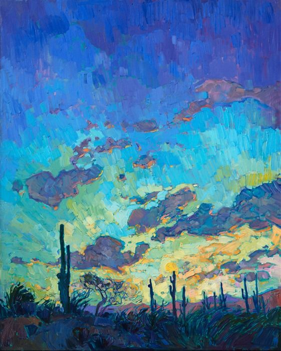 Arizona saguaro desertscape oil paintings for sale in an impressionistic style.