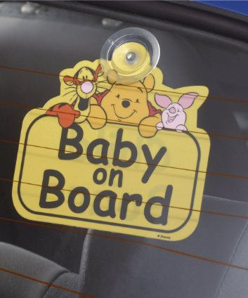 Car Seat Accessories. Winnie The Pooh Baby On Board Sign. The Winnie The Pooh Baby/Child On Board sign fixes to the inside of your rear windscreen, clearly alerting other drivers and the emergency services that there is a child in your car. #CarSeats #WinnieThePooh