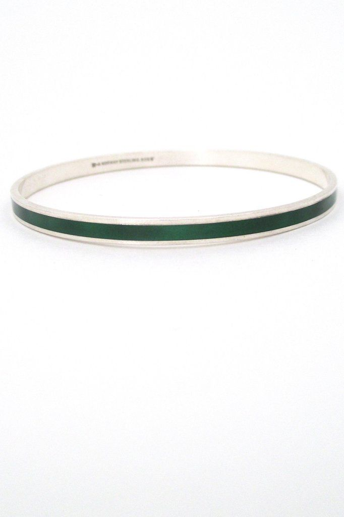 David-Andersen sterling silver & enamel bangle - green