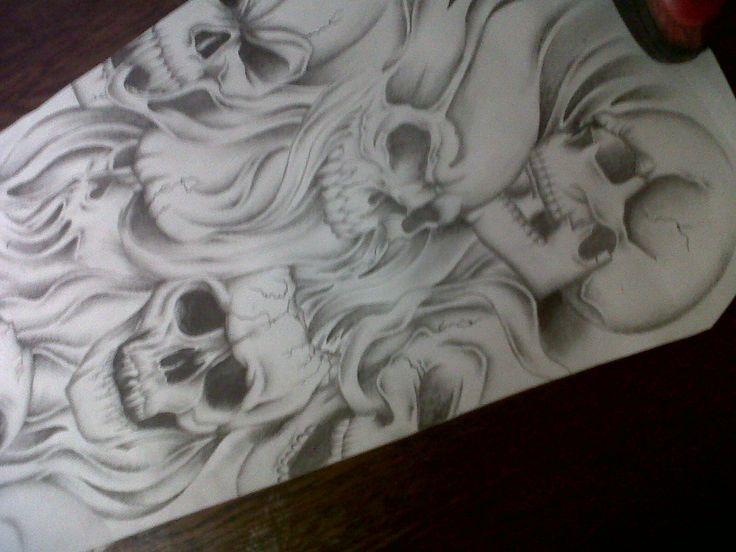 skull sleeve tattoo design by tattoosuzette.deviantart.com on @deviantART