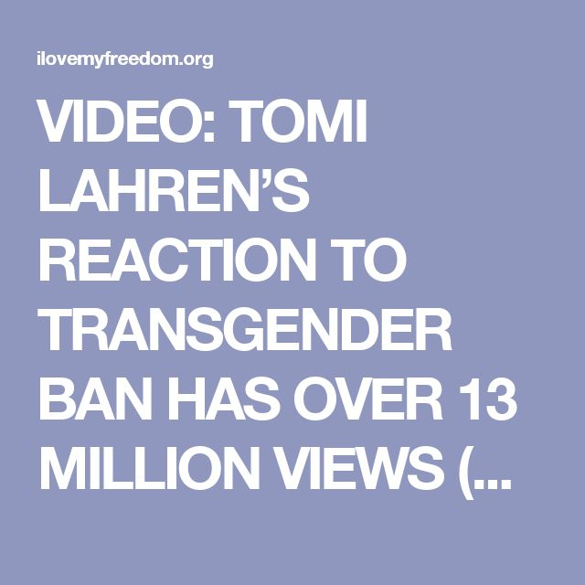 "VIDEO: TOMI LAHREN'S REACTION TO TRANSGENDER BAN HAS OVER 13 MILLION VIEWS (AND FOR GOOD REASON) July 27, 2017  Clayton In case you missed it, Tomi Lahren gave an incredible response to President Trump's ban on Transgenders in the Military, and it's already going MEGA viral.  In less than 24 hours, her video already has more than 13 million views on Facebook alone. Tomi isn't one to mince words, and she surely didn't do that in this video.  ""I 100% applaud President Trump for bringing back…"