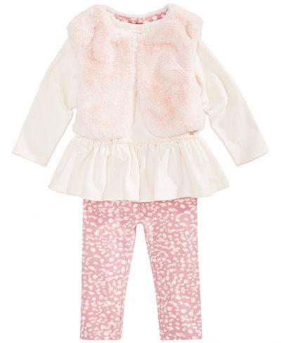 Первые Впечатления 3-ПК. Из искусственного меха жилет, туника с Баской и Леггинсы комплект, новорожденных девочек (0-24 месяцев), создана для macy's
