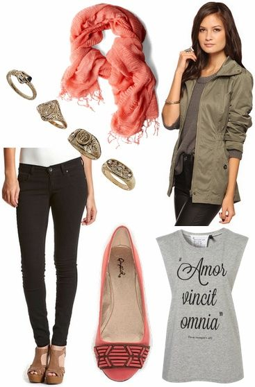 Gray Tee   Coral Scarf   Olive Utility Jacket   Black Skinny Jeans   Stacked Rings   Coral Flats