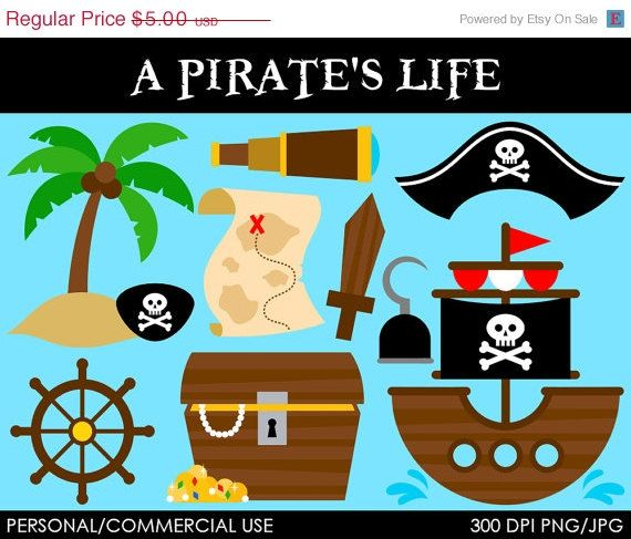 A Pirate's Life Clipart - Digital Clip Art Graphics for Personal or Commercial Use