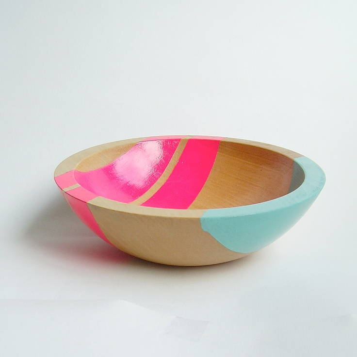 """lovely stuff @ nicole porter design. Modern Neon Hardwood 7"""" Bowl, Pink. $45.00, via Etsy."""