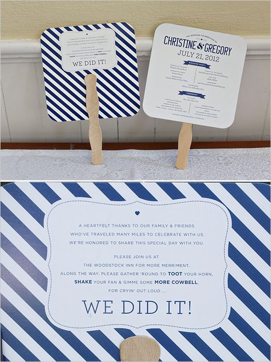 wedding program fan #weddingfan http://www.weddingchicks.com/2013/11/18/new-england-wedding/