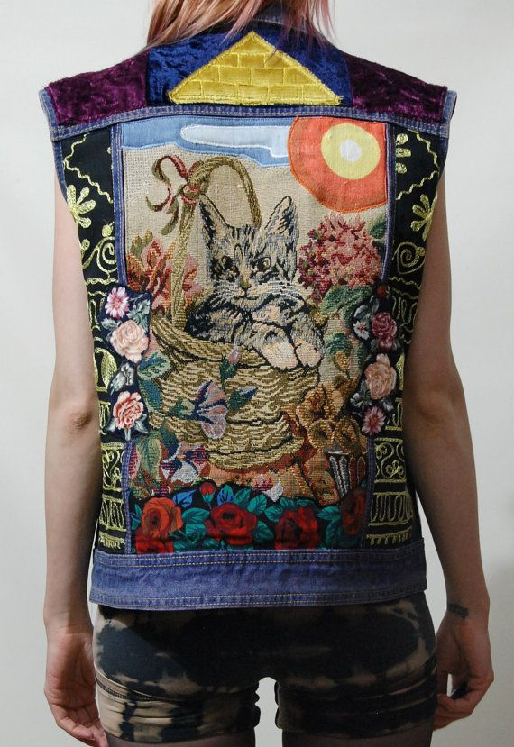 Vintage Jacket DENIM Vest PATCH Studded CAT Cross by cruxandcrow, $289.00