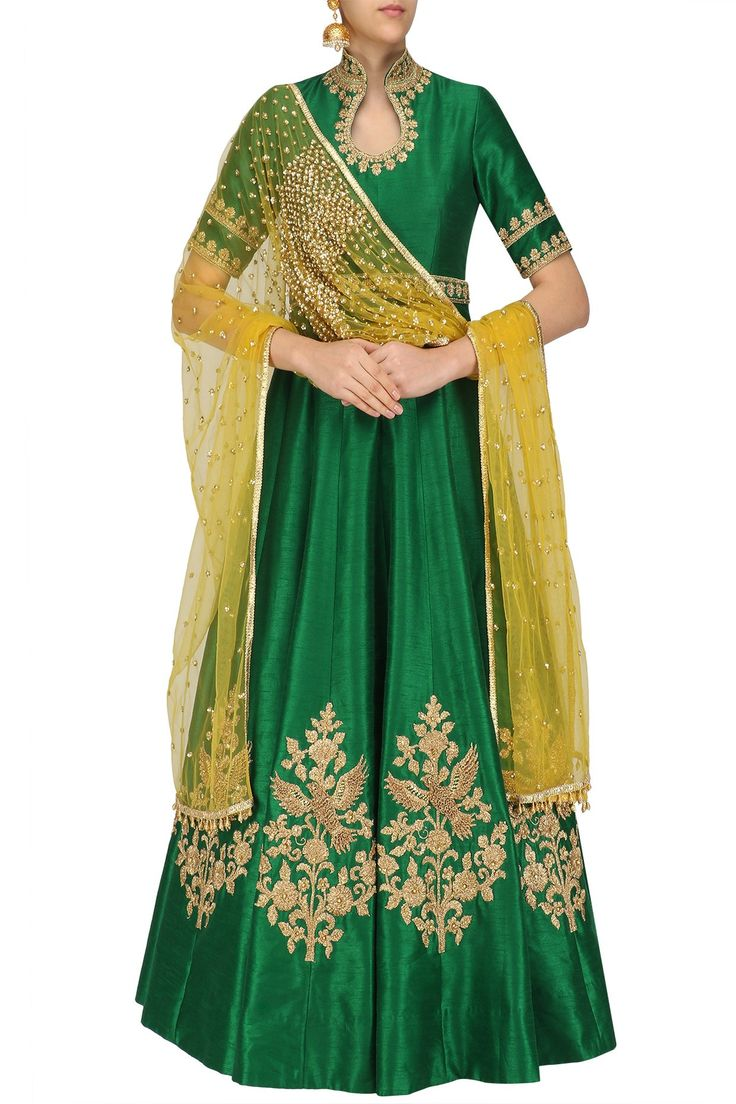 Emerald green dori and sequins embroidered anarkali set available only at Pernia's Pop Up Shop. #happyshopping #shopnow #ppus