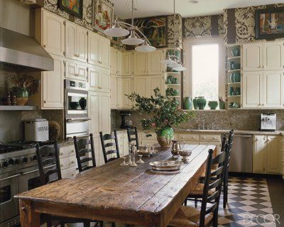 In The Kitchen Of Allison Kendrick S New Orleans Home The Irish Farm Table Is 19th