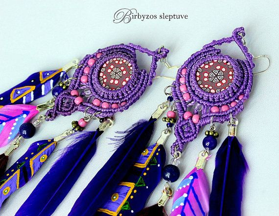 #macrame #dreamcatcher #earrings with #polimer #clay #cabochons LILAC BOHO / HIPPIE / Tribal Festive Knotted by Birbyzossleptuve