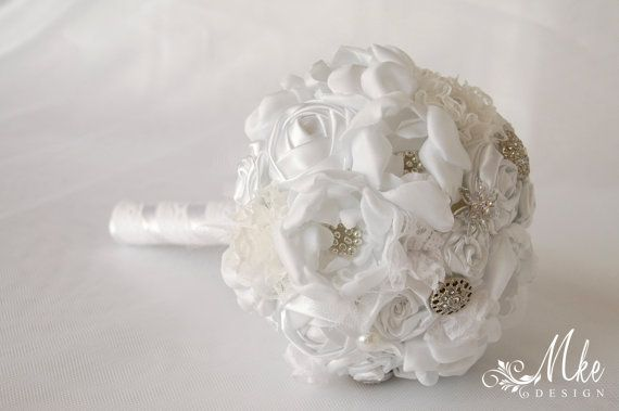 White Margaret  wedding bridal handmade bouquet with by MkeFlower