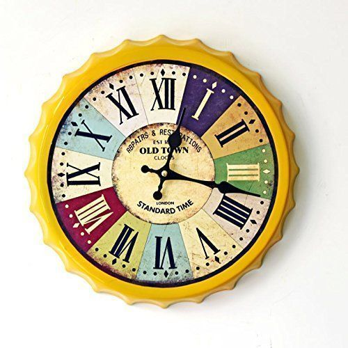 Unique large wall clocks are an easy way to bring life to a boring space. In fact large modern wall clocks are extremely popular right now as not only do they look timeless but also serve as large decorative wall art! Aiar Creative wrought iron wall clock wall clock vintage beer cover painted Roman numerals wall clock home decor