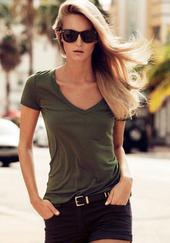 Army Green Plain V-neck Synthetic Fiber T-shirt