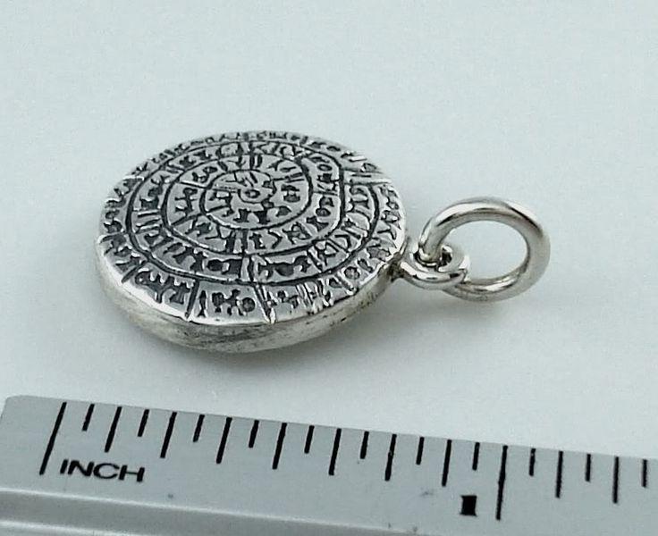 Festos schijf, Phestos, zilver griekse hanger, oude symbolen, Lineair A, Kreta, museum reproductie, zilver griekse sieraden