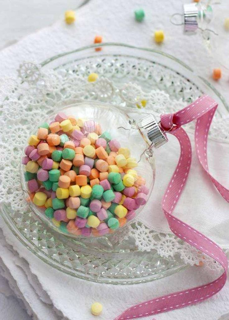 Wedding favors -Clear plastic baubles filled with your favorite treats