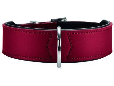 Hunter Basic Nickel Hundehalsband rot schwarz. Die Kombination aus Art- und Nappaleder überzeugt durch höchste Qualität. #hunter #hundehalsband #leder #petsworldandmore