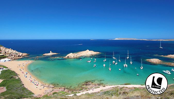 UK Holidays: Menorca, Spain: 3-7 Night Hotel Stay With Flights - Up to 67% Off for just: £89.00 Escape to an island of sandy crescents, rocky coves and Mediterranean waters; Menorca.      Stay at the Catalonia Hotel, Sol Isla Apartments or Fornells Apartments      Spend lazy days by the swimming pool or on the sandy beaches in quaint coves      Stroll through the local town and stay connected...