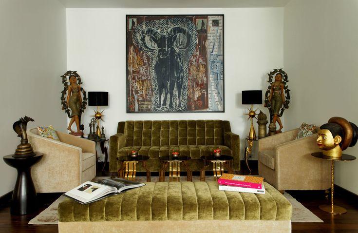 Olive golden green velvet pouf, unique interior design by Viya Interiors