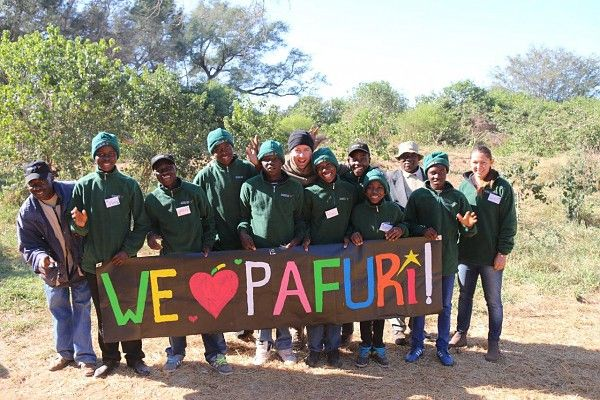 We ♥ Pafuri too! Makuleke #community boys and elders with guides and volunteer at a Children in the Wilderness Pafuri Trails camp #KrugerNationalPark